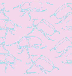 seamless pattern with scarab beetles silhouettes vector image