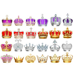 set crowns with precious stones vector image