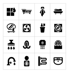 Set icons bathroom vector