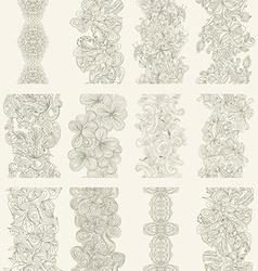 Set of abstract hand-drawn seamless border vector