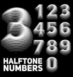 Set of halftone embossed numbers vector