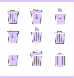 set of purple trash icon on white background vector image