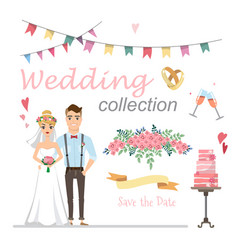 set wedding pictures bride and groom in love vector image