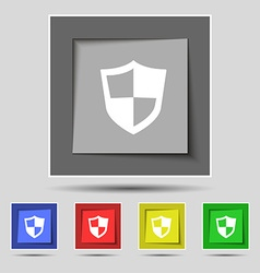 Shield icon sign on original five colored buttons vector