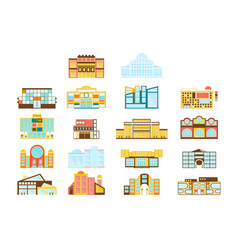 shopping mall buildings exterior design set of vector image