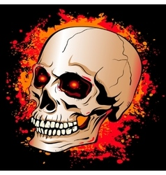 skull with glowing red eyes on a background of the vector image
