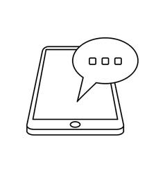 Smartphone bubble speech chat communication linear vector