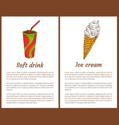 soft drink and ice cream set vector image