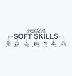 soft skills banner web icon for business working vector image