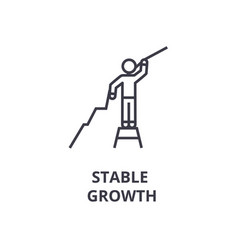 stable growth thin line icon sign symbol vector image