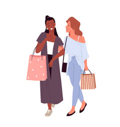 stylish girls best friends shopping young happy vector image