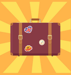 suitcase with stickers poster vector image