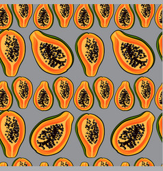 Tropical pattern with papayaseamless print vector