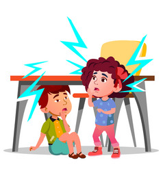 Two frightened kids sitting under the table during vector