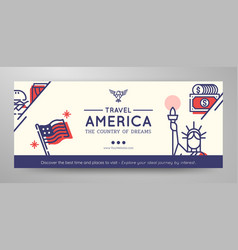 united states of america travel banner vector image