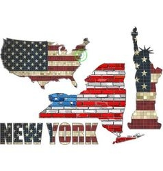 USA state of New York on a brick wall vector image vector image