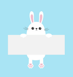 White bunny rabbit hanging on empty paper board vector