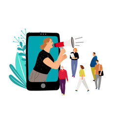 Woman with megaphone vector
