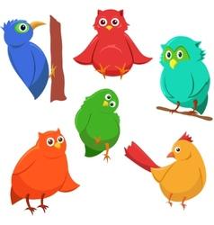 Cartoon set of colorful cute funny birds vector image
