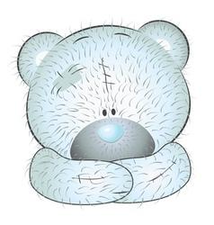 Cute blue teddy bear vector image