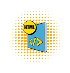 HTML file icon in comics style vector image vector image