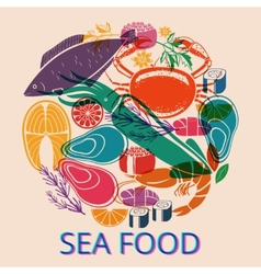 Seafood Graphic with Various Fish and Shellfish vector image