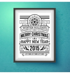 Vintage Christmas design Realistic frame on the vector image vector image