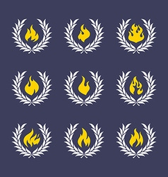 wreath with fire vector image vector image
