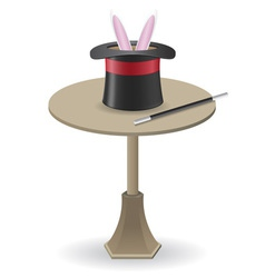 magic wand and cylinder hat on the table vector image
