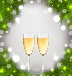 Merry Christmas Background with Glasses of vector image