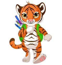 Tiger Go to School vector image vector image