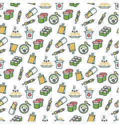 asian food seamless pattern - chinese fast food vector image