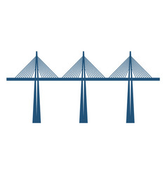 cable-stayed bridge on three supports blue vector image vector image