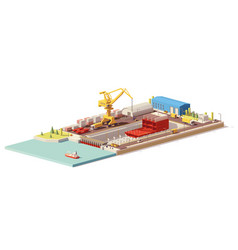 low poly ship construction in dry dock vector image vector image