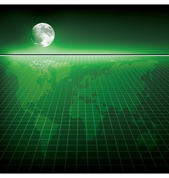 Abstract green background with earth map and moon vector image vector image