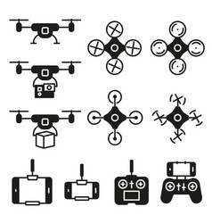 Flying drone flat icons on white background vector