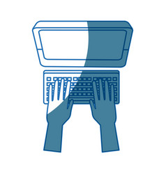 hands with computer keyboard working digital vector image