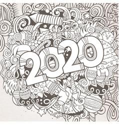 2020 hand drawn doodles contour line vector