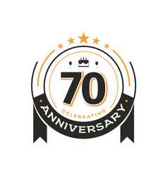 70 th birthday vintage logo template anniversary vector