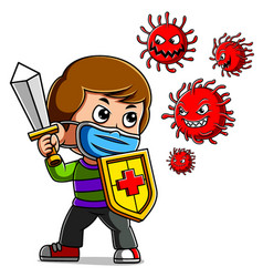 A boy wearing mask fight corona virus sword and vector