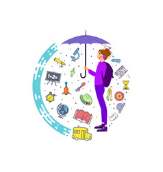 a girl with a backpack behind her umbrella is vector image