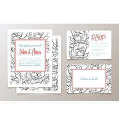 A set of office supplies for weddings invitation vector