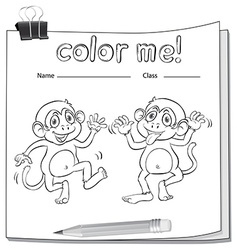 A worksheet showing two playful monkeys vector image