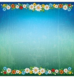 abstract green blue floral background with spring vector image