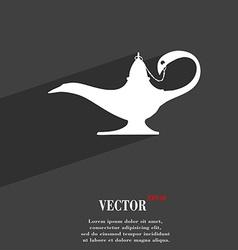 Alladin lamp genie symbol Flat modern web design vector image