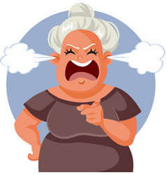 Angry middle age woman pointing finger vector