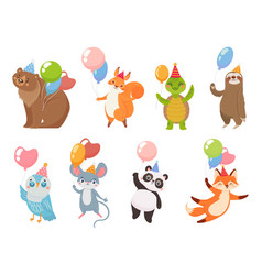 animals with balloons greeting party celebration vector image