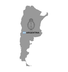 Argentina map with coat arms vector