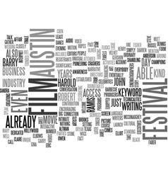 Austin film festival text word cloud concept vector