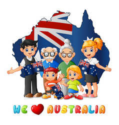 Australia day national flag map with big family vector
